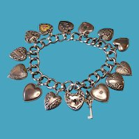 Vintage Sterling 1940s Double Sided Puffy Heart Charms and Padlock with Key Charm