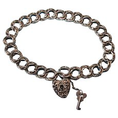 Vintage Victorian Bracelet and Heart Padlock with Key Charm