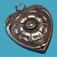 Vintage Sterling Silver Repousse Flower Puffy Heart Charm Rare