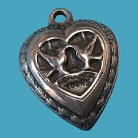 """Vintage Sterling Silver Puffy Heart """"Forever Yours"""" Love Birds Charm"""