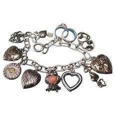 Vintage Sterling Silver Love Theme Charm Bracelet