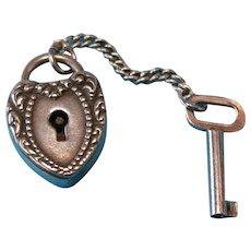 Victorian Repousse Puffy Heart Padlock Key Charm