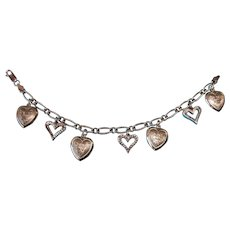 Vintage Sterling Silver Walter Lampl Puffy Hearts and Open-Heart Charm Bracelet