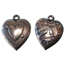 Vintage 1940s Stamped Fold-Over Puffy Heart Charms