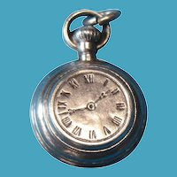 Vintage Sterling Silver Rare 1900s Puffy Pocket Watch Charm