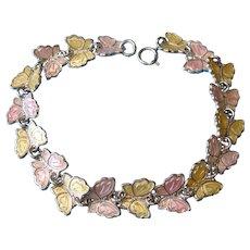 "Vintage Meka Pink and Yellow Enamel Butterfly Charm Bracelet 8"" Length"