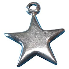 Vintage Sterling Silver Puffy Star Charm