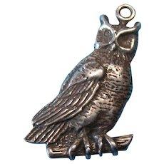 Vintage Sterling Silver Owl Bracelet Charm