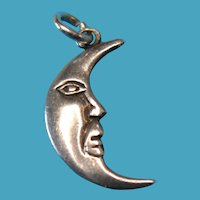 Vintage Sterling Silver Crescent Moon Face Charm