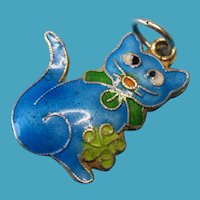 Vintage Sterling Silver Enamel Double Sided Cat Charm
