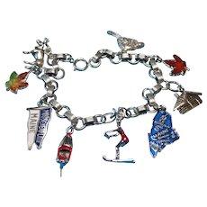 Vintage Sterling Silver Moosehead Lake Vacation Charm Bracelet