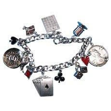 Vintage Sterling Silver Lucky Gambler Theme Charm Bracelet