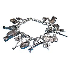 Vintage Sterling Silver Medical Theme Charm Bracelet