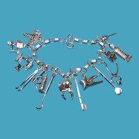Vintage Sterling Dental Theme Charm Bracelet