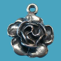 Vintage Sterling Silver Charm of a Full Blossomed Rose