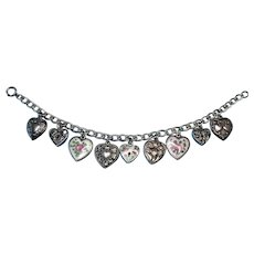 Vintage Sterling Silver Walter Lampl Puffy Heart Charm Bracelet