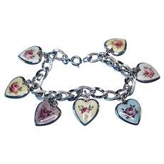 Vintage Sterling Guilloche Enamel Cabbage Rose Puffy Heart Charm Bracelet