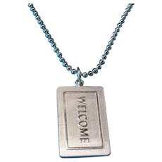 """Vintage Sterling 2000 Tiffany """"Welcome"""" Mat Necklace Charm Pendant"""