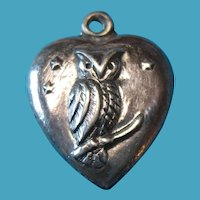 Vintage Sterling Silver 1940s Puffy Heart Charm with Owl and Stars