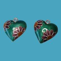 Vintage Sterling Silver Enamel Floral Floating Heart Charms
