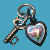 Vintage Enamel Floral Brass Heart Charm with a Sterling Silver Key Charm – Tiny