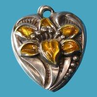 Vintage 1940s Sterling Silver Enamel Lily Puffy Heart Bracelet Charm