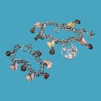 Vintage Sterling Enamel Meka Butterfly Flower Theme Charm Bracelets