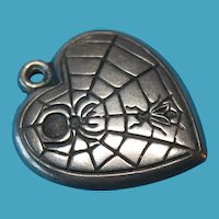 Vintage Sterling Silver Spider Web Puffy Heart Charm