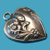 Vintage Sterling Floral Puffy Heart Charm 1940s