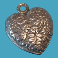 Vintage English Silver Double Sided Floral Puffy Heart Charm