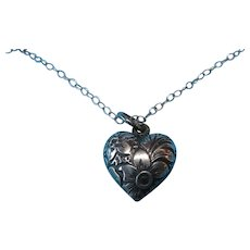 1800s Antique French Silver Puffy Heart Charm Necklace