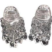 Cut Glass Salt Pepper Shakers Glass Lids Vintage Diamond Point