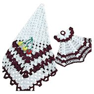 Crochet Pot Holder Set Ecru Maroon Fruit Dress Vintage Kitchen Decor