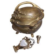 Gilt Ormolu Jewel Casket Ring Box with Vintage Gold Tone Perfume Pendant