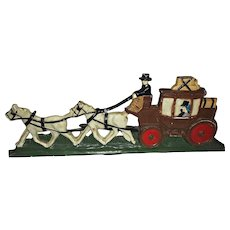Cast Iron Door Stop Vintage Horse Drawn Carriage Painted
