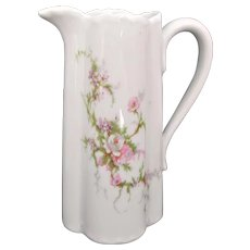Haviland Limoges Vintage Creamer Milk Pitcher Ewer Pink Purple Floral Sprays