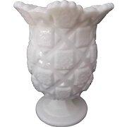 Westmoreland Milk Glass Old Quilt Celery Vase