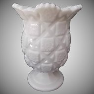Westmoreland Milk Glass Old Quilt Celery Vase