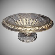 Heisey Etched Clear Glass Footed Bowl Flowers Leaves Vintage Art Deco