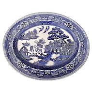 Small Deep Blue Willow Transfer Serving Plate Platter Vintage Nelson Ware