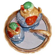 Hand Painted Nippon Lustre Ware Handled Plate Chicks on Eggs Shaker Condiment