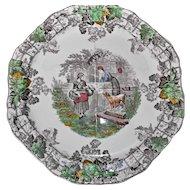 Copeland Spode's Byron Octagon Brown Transferware Plate Vintage Grapes Trellis