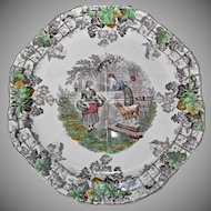 Copeland Spode's Byron Octagon Brown Transferware Plate Vintage Grapes Trellis