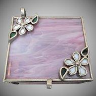 Pink Slag Glass box Vintage Vanity Flowers
