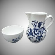 Royal Worcester Cream Sugar Vintage Bone China Blue Sprays
