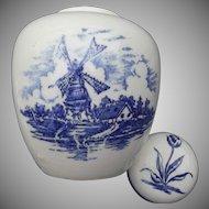 Ginger Jar Dutch Windmills Tulip Porcelain Vintage Delft Blue Transfer