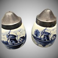 Delfts Holland Blue White Porcelain Salt Pepper Shakers Metal Lids Vintage Set