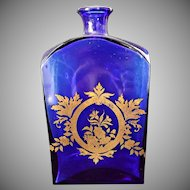Cobalt Blue Glass Bottle Gold Gilt Floral Design Vintage Portugal