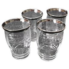 MacBeth Evans Stippled Rose Band Glass Juice Tumblers Silver Trim S Pattern