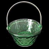 Green Depression Glass Whipped Cream Pail Diamond Pattern